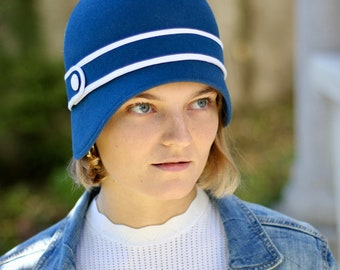 Royal Blue Vintage Style Wool Winter Hat, Blue White Cloche Hat Women's 1920's Flapper Hat, Classic Millinery