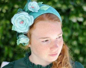 Turquoise Headband, Flower Fascinator, Wedding Guest Headband, Occasion Headband, Flower Headpiece, Oversize Headdress, Headband For Adult