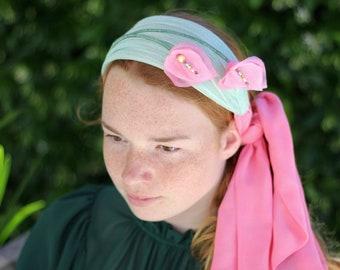 Pink Mint Green Flower Turban Style Headband, Flower Fascinator, Special Occasion Races hat, Turban Headband with flowers, Flower Head Wrap