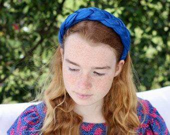 Blue Woven Silk Headband, Royal Blue Braid Headpiece, Royal Blu Headband, Plaited Headband, Women's Silk Fashion Headbands
