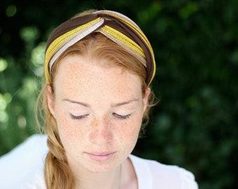 Retro Style Turban Headband, Knotted Head Wrap, Bandeau HairbandTwist Headband, Brown Yellow Turban Knot Headpiece, One Size