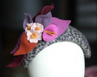 Animal Print Flower Headband,  Animal Print Floral Fascinator, Occasion Headpiece, Felt Fascinator, Cheetah Print Oversized Headband