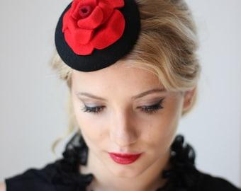 Red Rose Fascinator, Flower Headband For Women, Pillbox Hat, Cocktail Hat, Occasion Headband, Felt Flower Fascinator, Women Millinery, Derby