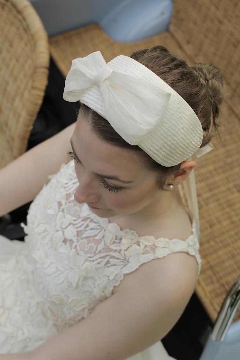 Silk Wedding Bow Silk Bow Wedding Bow Fascinator Headband Ivory Bridal Headpiece
