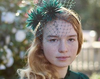 Green Feather Pom Pom Fascinator Headband, Playful Pompom Headpiece, Women's Fashion Headbands