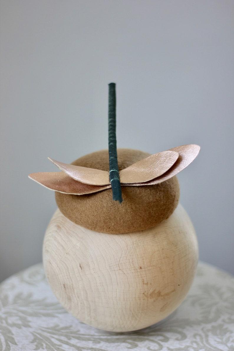 Dragonfly Cocktail Hat Camel Bronze Fascinator Headpiece Leather Dragonfly Pillbox Autumn Woodland Fascinator