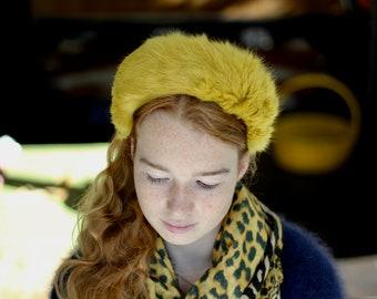 Mustard Yellow Fur Halo Headband, Winter Halo Crown, Special Occasion Fur Headdress, Wedding Guest, Winter Fur headpiece