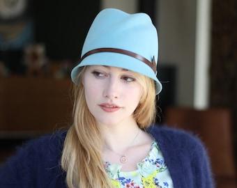 Light Blue Cloche Hat, Women's 1920's Hat, Flapper Hat, Leather Strap, Classic Millinery, Vintage Style Hat, Fur Felt Hat, Gift For Her