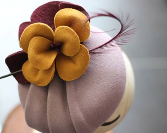 Lilac Orchid Pillbox Hat, Purple Wedding Hat, Cocktail Hat With Feather, Flower Hatinator, Races Hat, Kentucky Derby, Royal Ascot, Tea Party