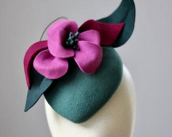 Green Flower Felt Percher Hat, Teardop Hat With Felt Flowers, Felt Cocktail Hatinator, Flower Fascinator, Ascot Races, Wedding Guest Hat