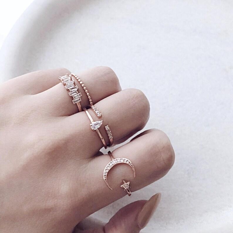 Boucle de ceinture cristal Anneau Argent Sterling 925 Design réglable Open Finger Ring