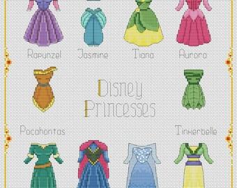 ALL DRESSES Disney cross stitch pattern Disney princesses  cross stitch pattern