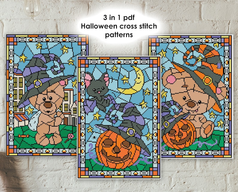 Hsg01-03 3 in 1 Halloween  cross stitch patterns  stained image 0