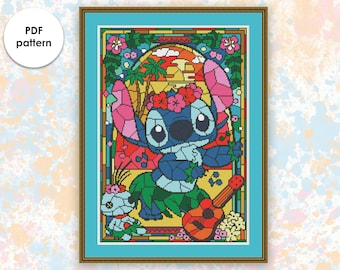"""Disney cross stitch pattern """"SG001 Lilo and Stitch"""" in pdf. Stained glass cross stitch pattern. Instant download. BUY 2 GET 1 FREE"""