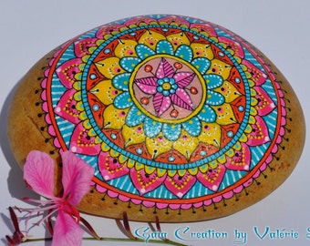 Hand painted pebble -  Mandala pink, yellow and turquoise