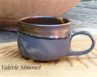 Cup with enamelled black resell handle, 300 ml