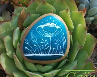 Pebble handpainted - Nature blue 2