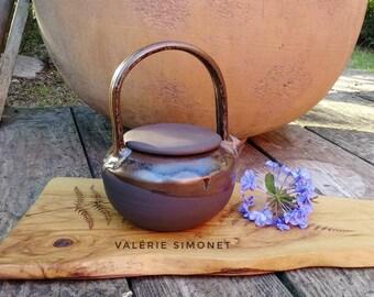 Round teapot in enamelled black sandstone, 75cl