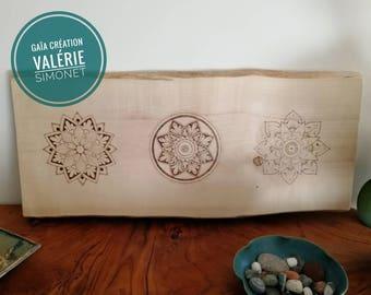 Tableau with three pyrographed mandalas on a massiv birch board
