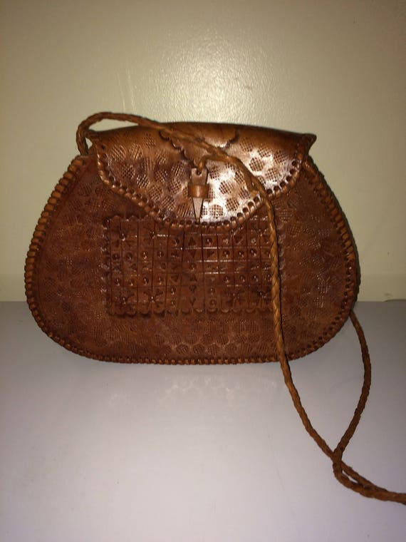 7d6a0e96d36 Hand tooled leather purse vintage leather purse large hobo   Etsy