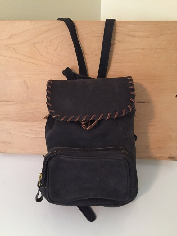 Roots Canada leather backpack, small charcoal back