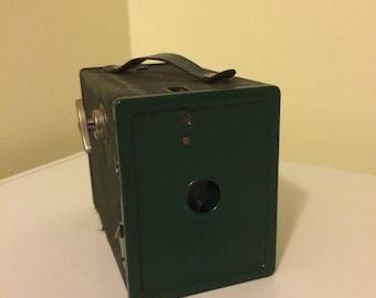 Vintage Agfa ansco box camera, green box camera, vintage photography