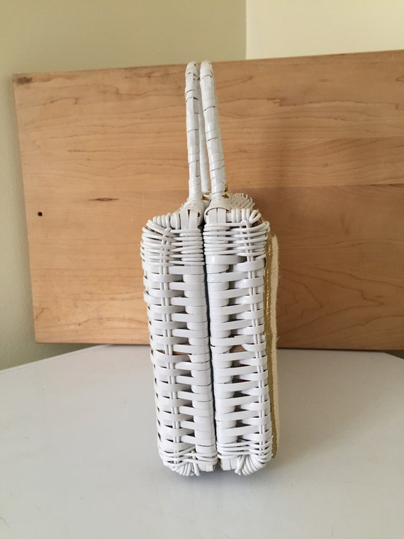 Saks Fifth Avenue wicker purse, white wicker purs… - image 4