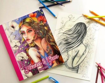 """Colouring book """"Flowers and gems"""" in high quality paper, + one original drawing  + dedication, + inedited and exlusive colouring page"""