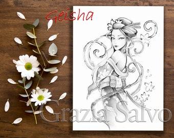 Printable Colouring Page Of A Gheisha Pdf