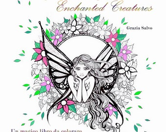 "Printable whole colouring book for adults ""Creature Incantate"". Pdf file of whole colouring book ""Enchanted Creatures""."