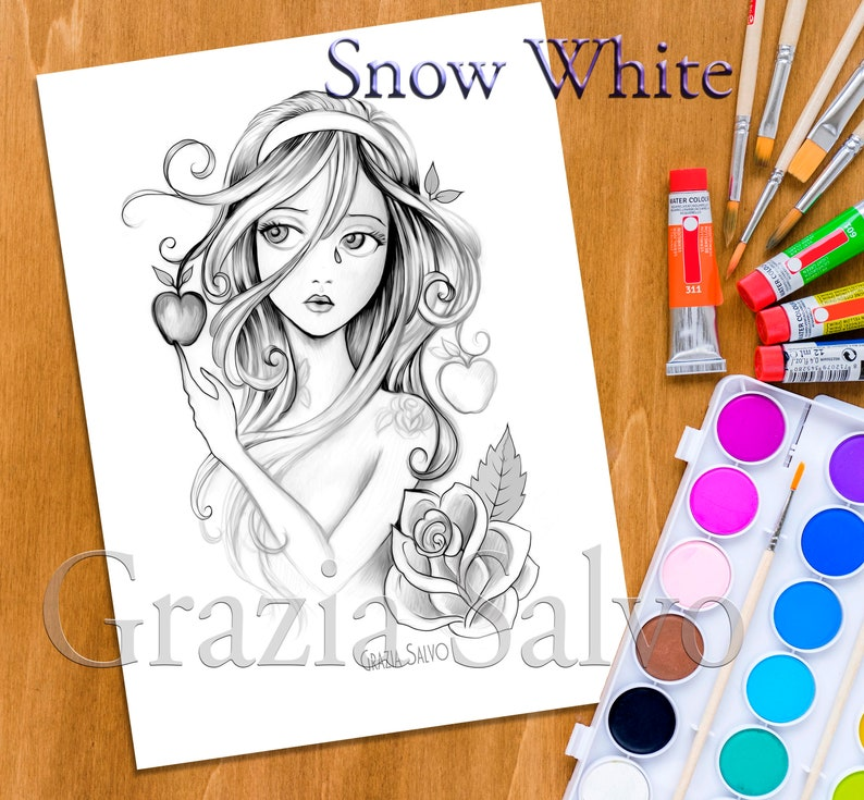 graphic about Snow White Printable identify Snow White. Printable colouring website page of fairy stories dolls.