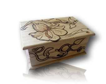 Flowers and Vines Pyrography Jewellery Box With Mirror and Drawer