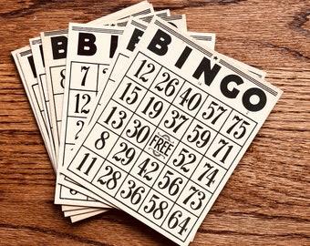 Black Bingo Cards ~ Set of 10 Bingo cards, Paper Bingo, Journal Supplies