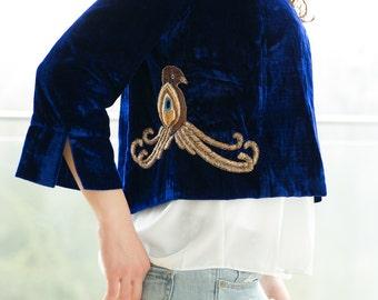 Embroidered blue velvet blazer, blue velvet jacket, gold embroidered jacket, vintage style jacket, embroidered blazer, velvet cardigan