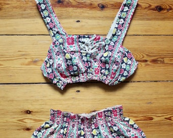 1940s Catalina novelty print bikini/ 40s designer beach romper set or swimsuit/ hearts and floral print 2 piece swim suit VLV
