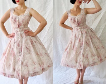 158cde092b0 1950s novelty print painterly celebration starburst or fireworks print  party dress in waffle textured fabric with buttons - 50s prom dress