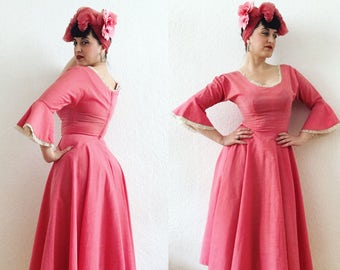 Lilli Diamond of California designer 50s full circle pink dress - 1950s dress with statement lace sleeves 26 W