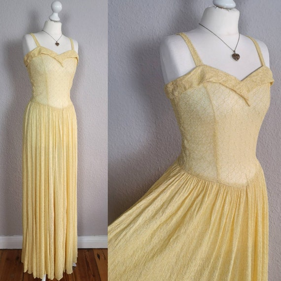 Incredible 1940s yellow lace gown - original vinta