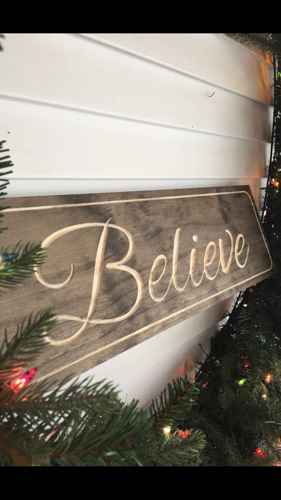Rustic Wooden Decor Believe Sign Inspirational Decor Etsy Custom Believe Signs Decor