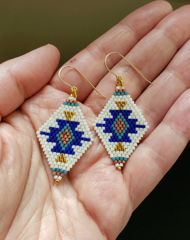 Hand woven seed bead earrings beaded earrings boho jewelry