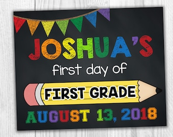 First Grade School Sign, Back To School Sign, First Day Of School, 1st Day Of School, Printable Signs, School Signs, Kids School Signs