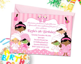Spa party invitation etsy spa party invitations girls party invites kids birthday party invitations spa invitations beauty salon invitations kids party printable filmwisefo