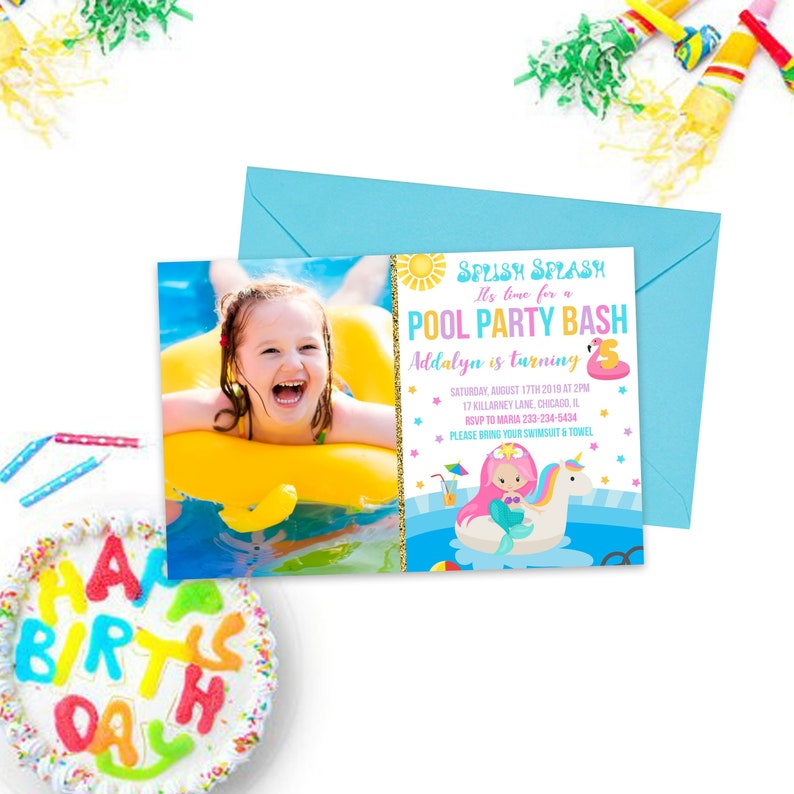Summer Pool Party Invitations Kids Party Printables Pool Etsy
