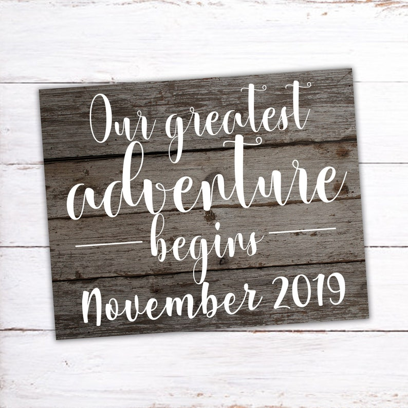 Our Greatest Adventure Begins Printable Pregnancy Sign Printable Announcement Pregnant Pregnancy Pregnancy Announcement Digital Sign