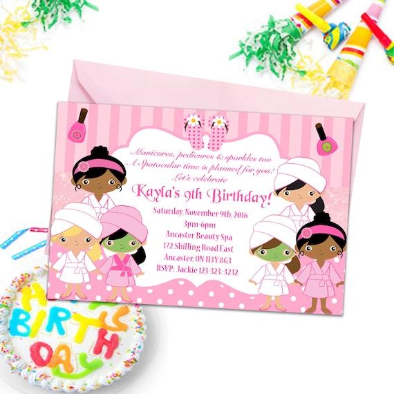 Wellness Party Einladungen Mädchen Party Einlädt Kinder