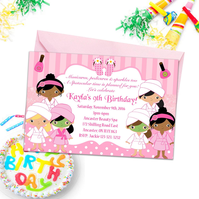 Wellness-Party-Einladungen Mädchen Party einlädt Kinder | Etsy
