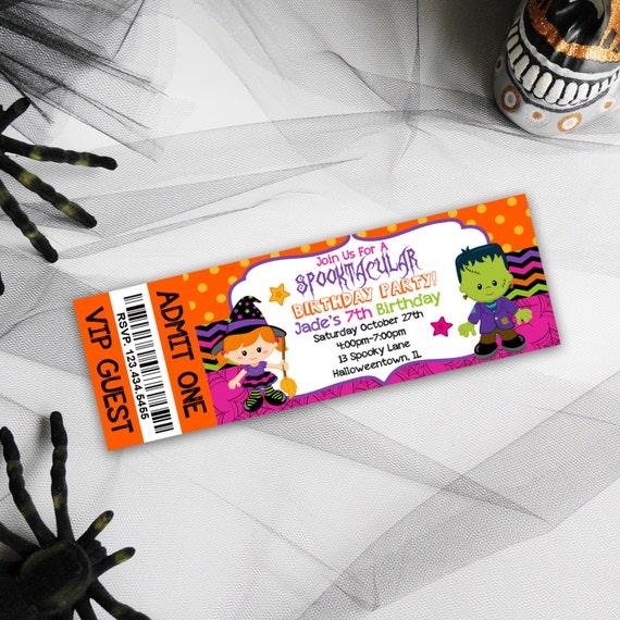kids birthday party invitations halloween birthday invites etsy