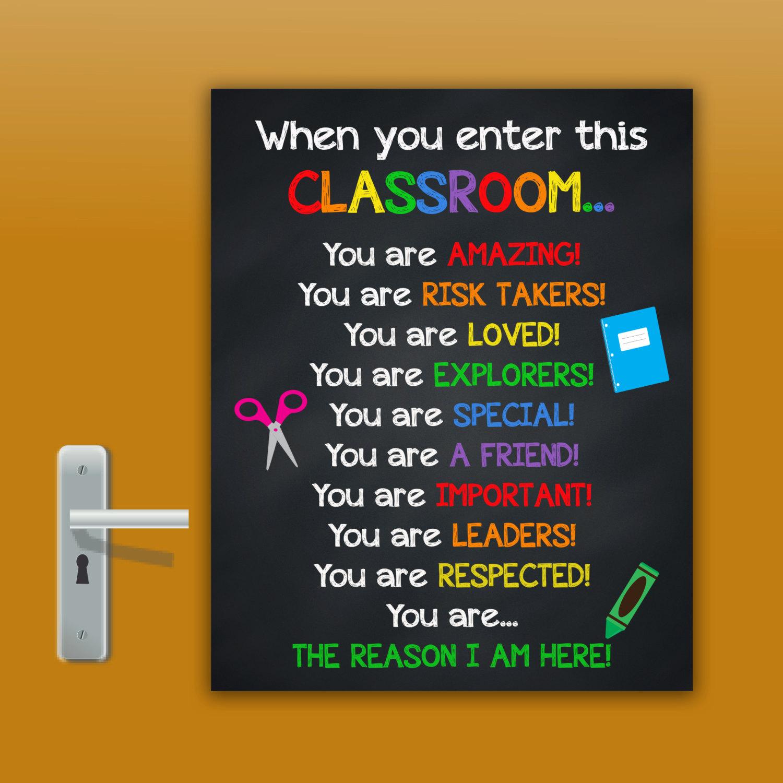 Klassenzimmer Zeichen Zeichen Lehrer Schule Türschilder | Etsy
