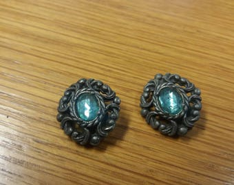 Vintage Gothic Inspired Green Stone Clip On Earrings - Kitsch Chic Boho Piece