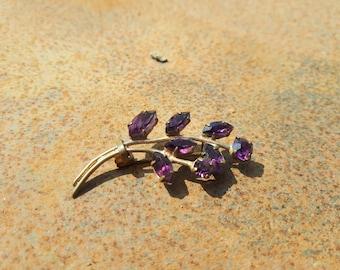 Vintage Purple Stone Glass Floral Spree Blast - Wedding Boho Bohemian Piece